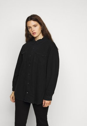 BOYFRIEND FIT OVERSIZED SHIRT - Button-down blouse - black