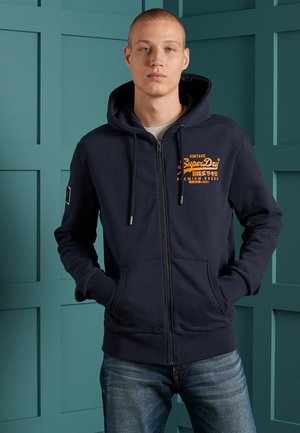 VINTAGE LOGO EMBOSSED - Zip-up hoodie - atlantic navy