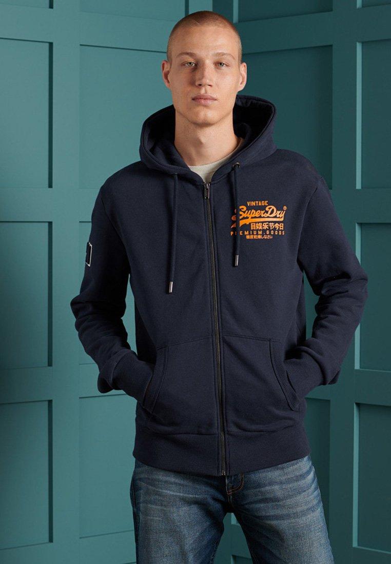 Superdry - VINTAGE LOGO EMBOSSED - Zip-up hoodie - atlantic navy