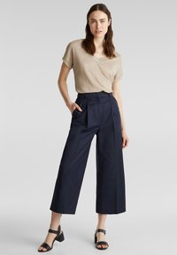 Esprit Collection - HIGH RISE CULOTTE - Trousers - navy - 1