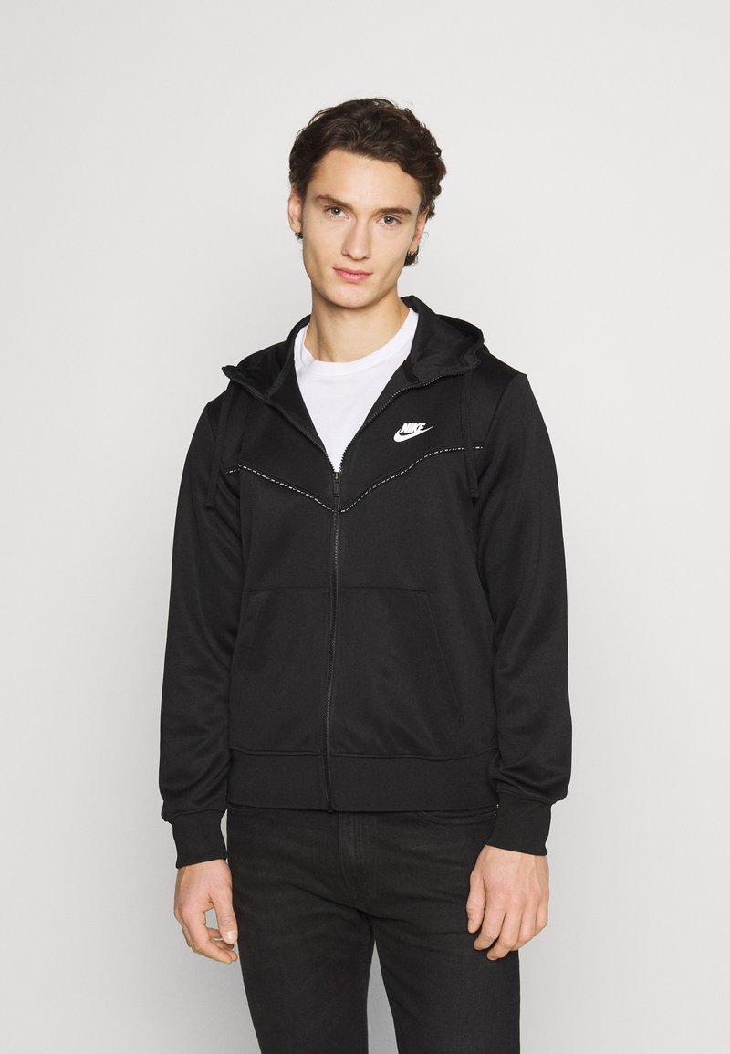 Nike Sportswear - REPEAT HOODIE - Sudadera con cremallera - black/reflective silver