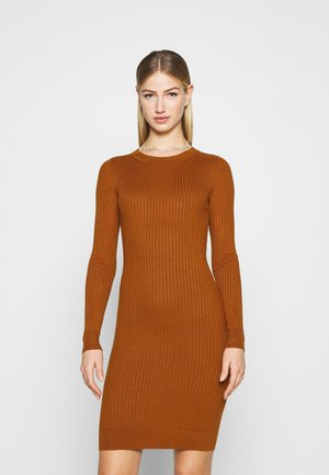 Knitted jumper mini high neck dress - Shift dress - brown