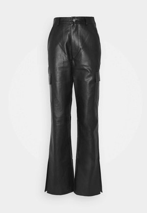 CARGO SIDE SPLIT LEG TROUSER - Trousers - black