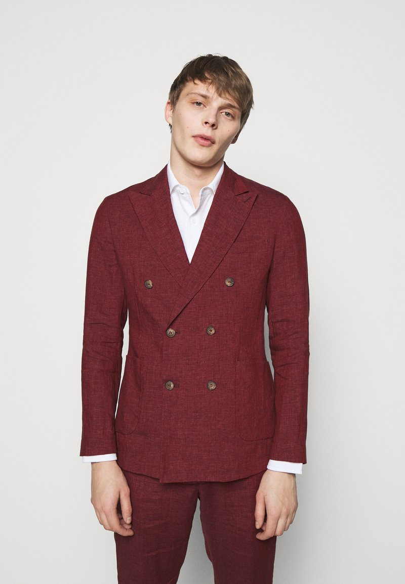 Frescobol Carioca - UNSTRUCTURED DOUBLE BREASTED - Suit jacket - dark red