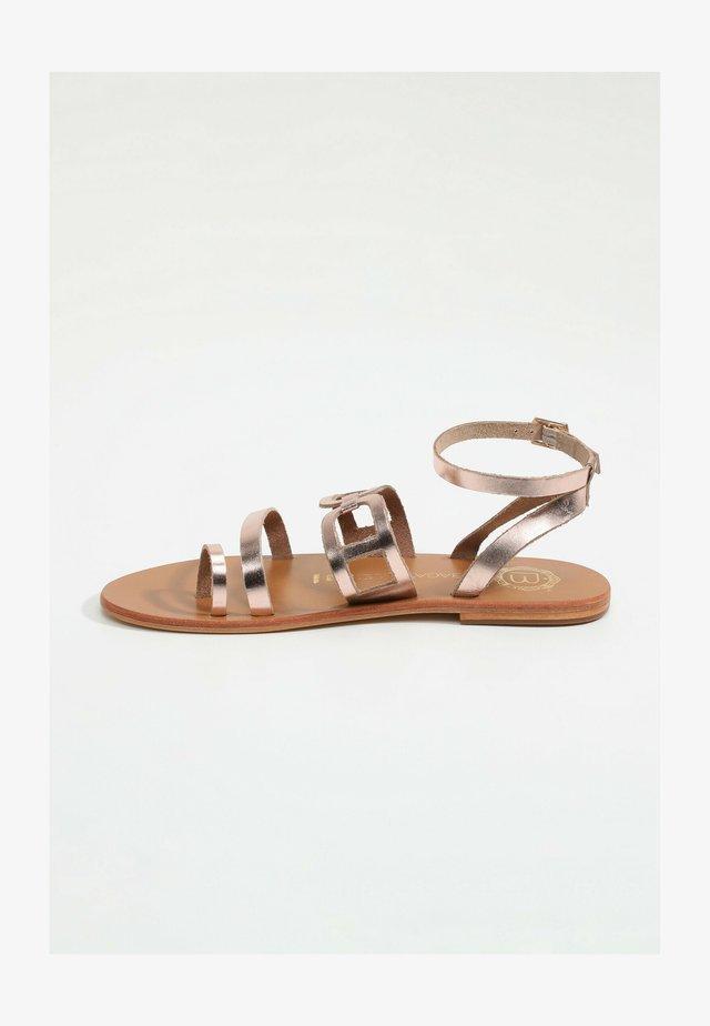 AGHAVILLA - T-bar sandals - rose gold