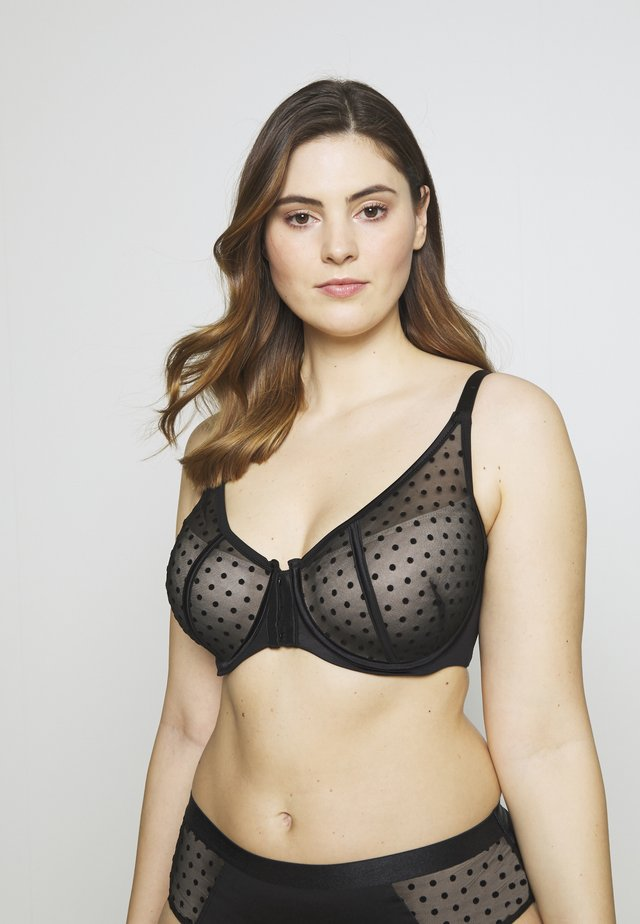FASHION FRONT CLOSURE BRA - Underwired bra - black