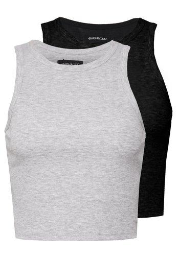 2 PACK - Top - light grey/black