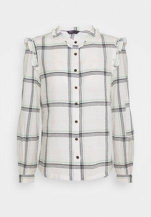 CHECK FRILL CASUA - Button-down blouse - off-white