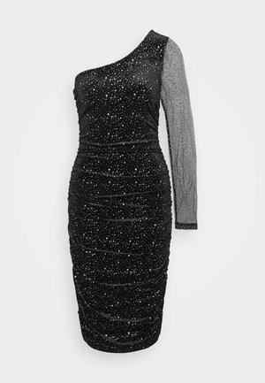 COSTELLO ONE SHOULDER GLITTER BODYCON DRESS - Vestido de cóctel - black