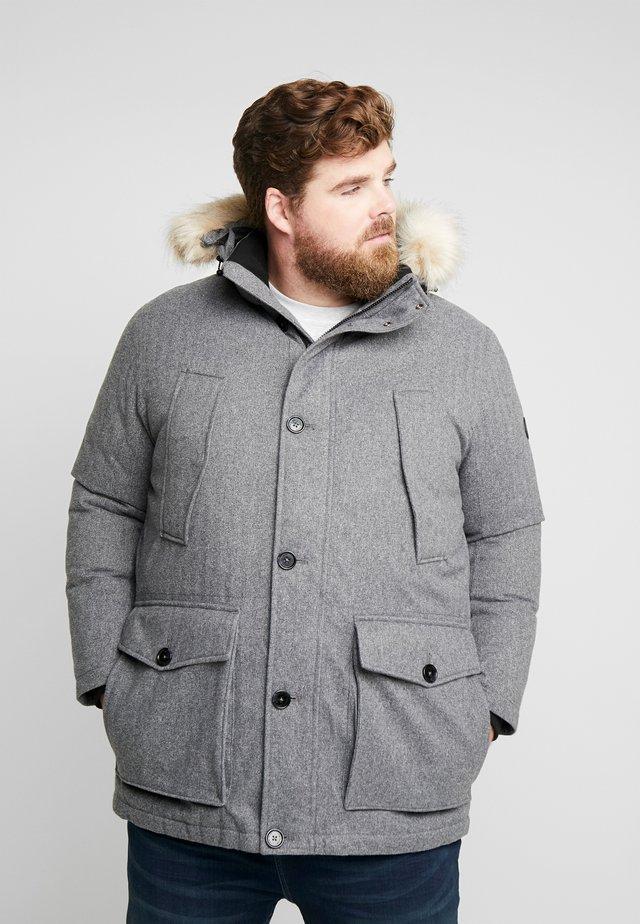 PADDED WINTERJACKET WITH HOOD - Winter jacket - mottled grey