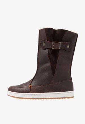 Winter boots - dark brown/off white/dark gum