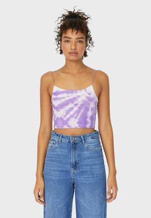 CROPPED-SHIRT MIT TIE-DYE  - Top - purple