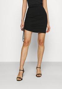 Even&Odd - Drawcord basic mini skirt - Pencil skirt - black - 0