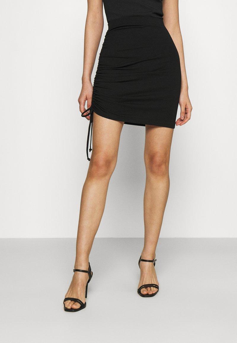 Even&Odd - Drawcord basic mini skirt - Pencil skirt - black