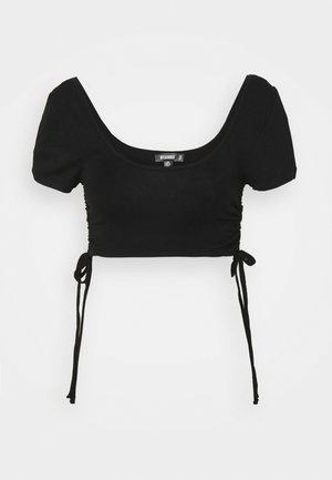 RUCHED SIDE CROP  - Print T-shirt - black