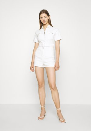 SELF BELTED PLAYSUIT - Mono - white