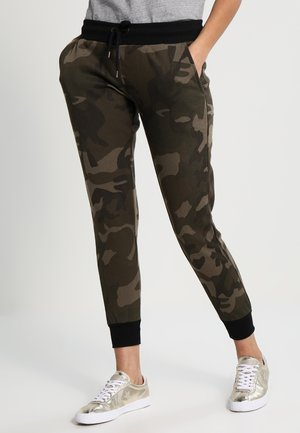 TERRY - Tracksuit bottoms - olive camo/black