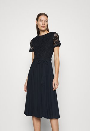 PLEATED MIDI DRESS - Day dress - navy