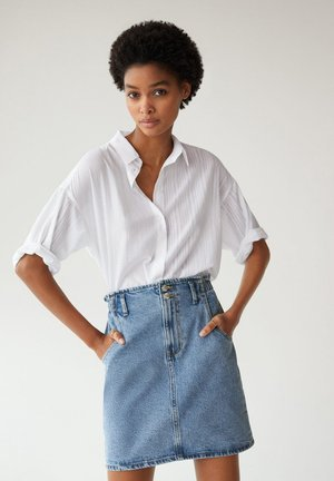 PAPERBAG - Denim skirt - średni niebieski