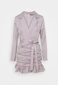 Missguided Petite - RUCHED FRILL BLAZER DRESS - Cocktail dress / Party dress - grey - 0