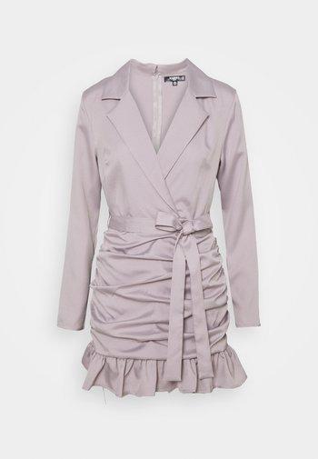RUCHED FRILL BLAZER DRESS
