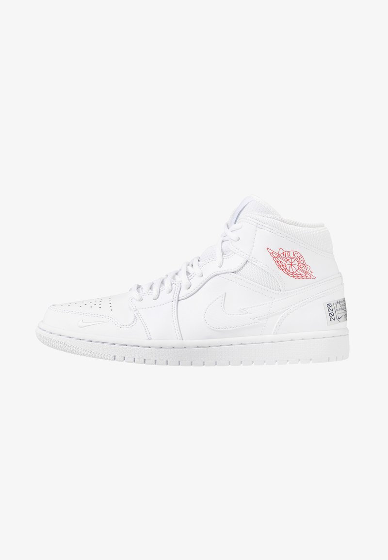 Jordan - AIR 1 MID - Sneakersy wysokie - white/university red/midnight navy