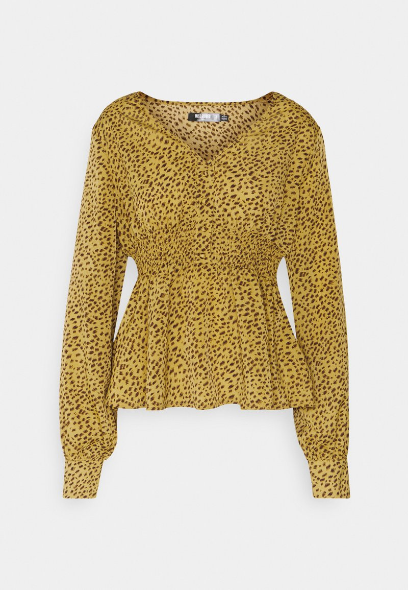 Missguided Tall - SHIRRED WAIST BLOUSE - Blouse - mustard