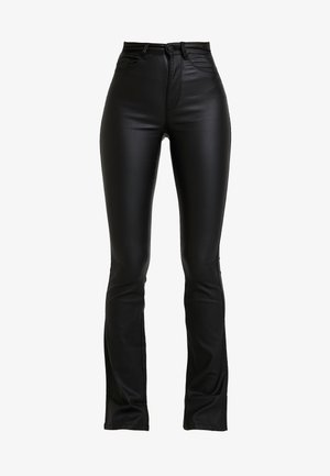 ONLROYAL SWEET FLARED COATED - Broek - black