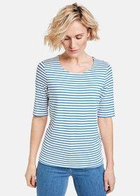 Gerry Weber - 1/2 ARM GERINGELTES - Print T-shirt - ecru/weiss/blau ringel - 0