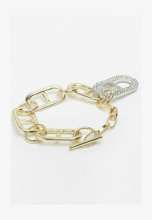 GOLD CHAIN CRYSTAL HOOP - Bracelet - gold