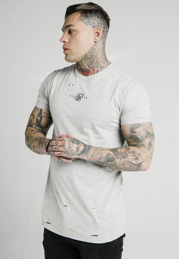 SIKSILK DISTRESSED BOX TEE - T-shirt z nadrukiem - grey marl/szary melanż Odzież Męska DKCF