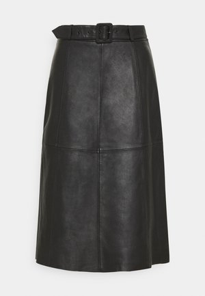 SLFOLLY  MIDI SKIRT - Leather skirt - black