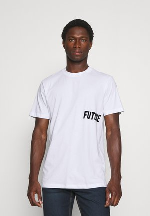SLHDRILL ONECK TEE  - T-shirt med print - bright white