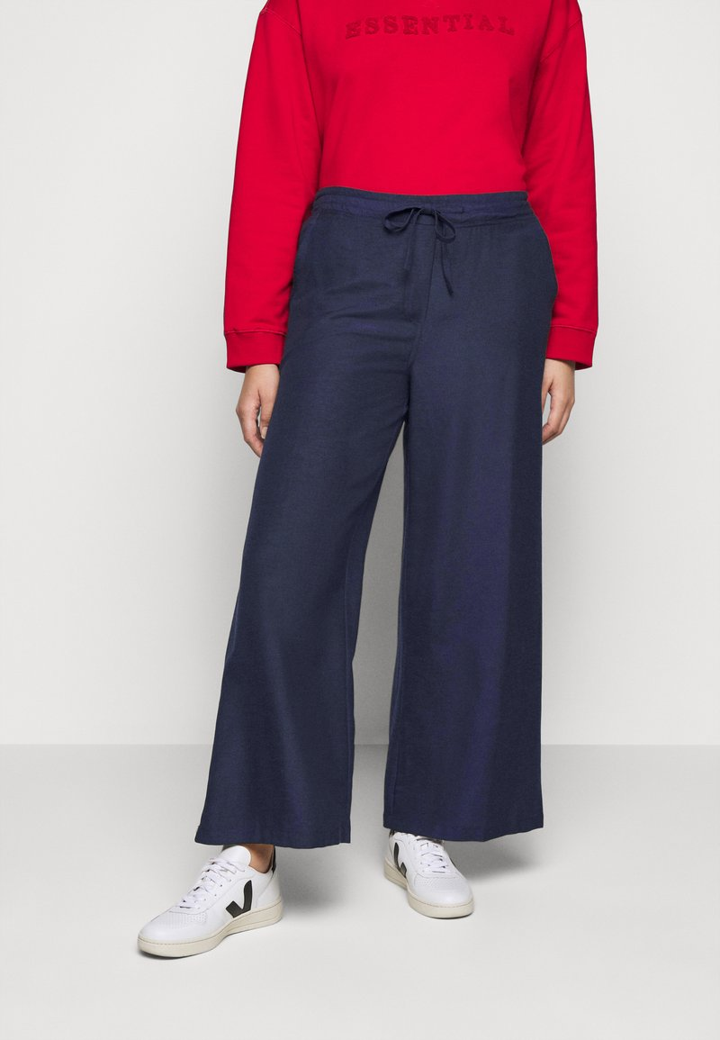 Simply Be - EASY CARE WIDE - Trousers - navy