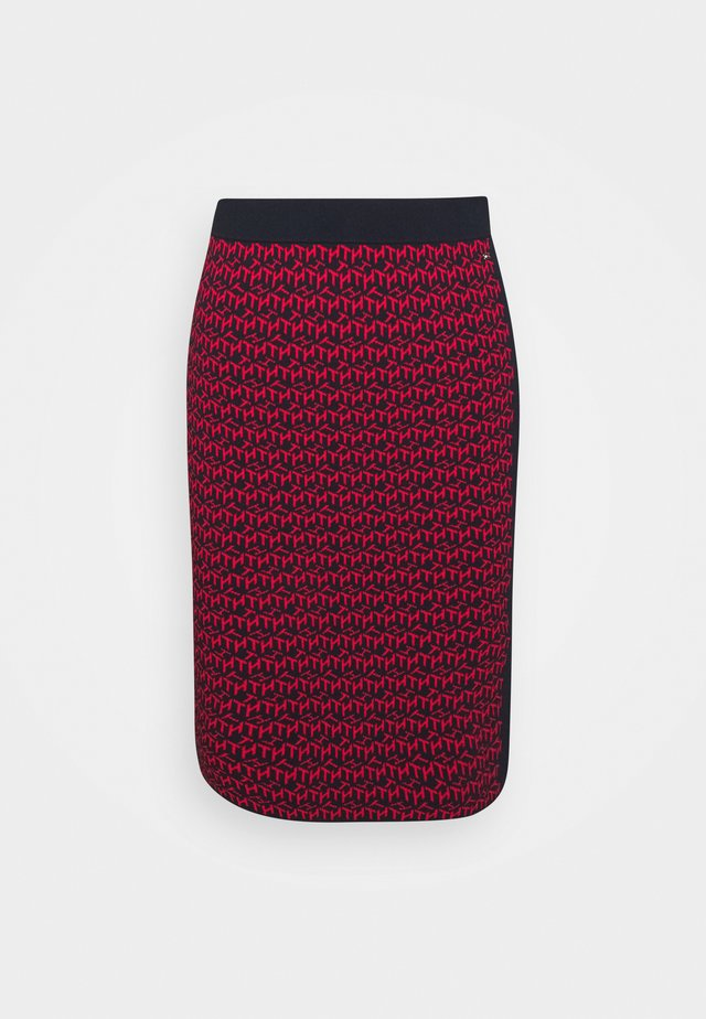 CUBE MIDI PENCIL SKIRT - Spódnica ołówkowa  - desert sky/primary red