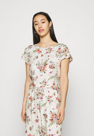 VIBILLY FLOWER - Print T-shirt - cloud dancer/red