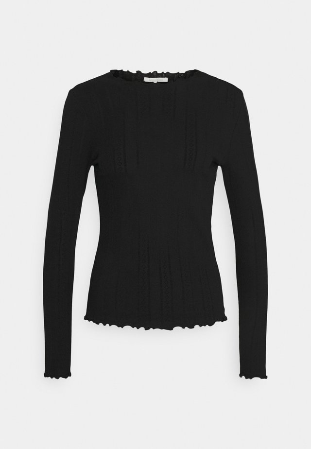 POINTELLE TEE - Long sleeved top - deep black