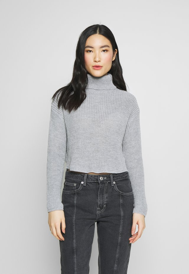 ROLL NECK CROP JUMPER - Jumper - grey