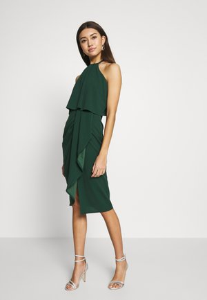 HALTER KNECK FITTED MIDI DRESS - Sukienka z dżerseju - forest green