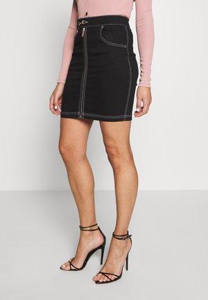 FRONT ZIP SKIRT - Pouzdrová sukně - black