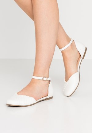 LEATHER ANKLE STRAP BALLET PUMPS - Ankle strap ballet pumps - white