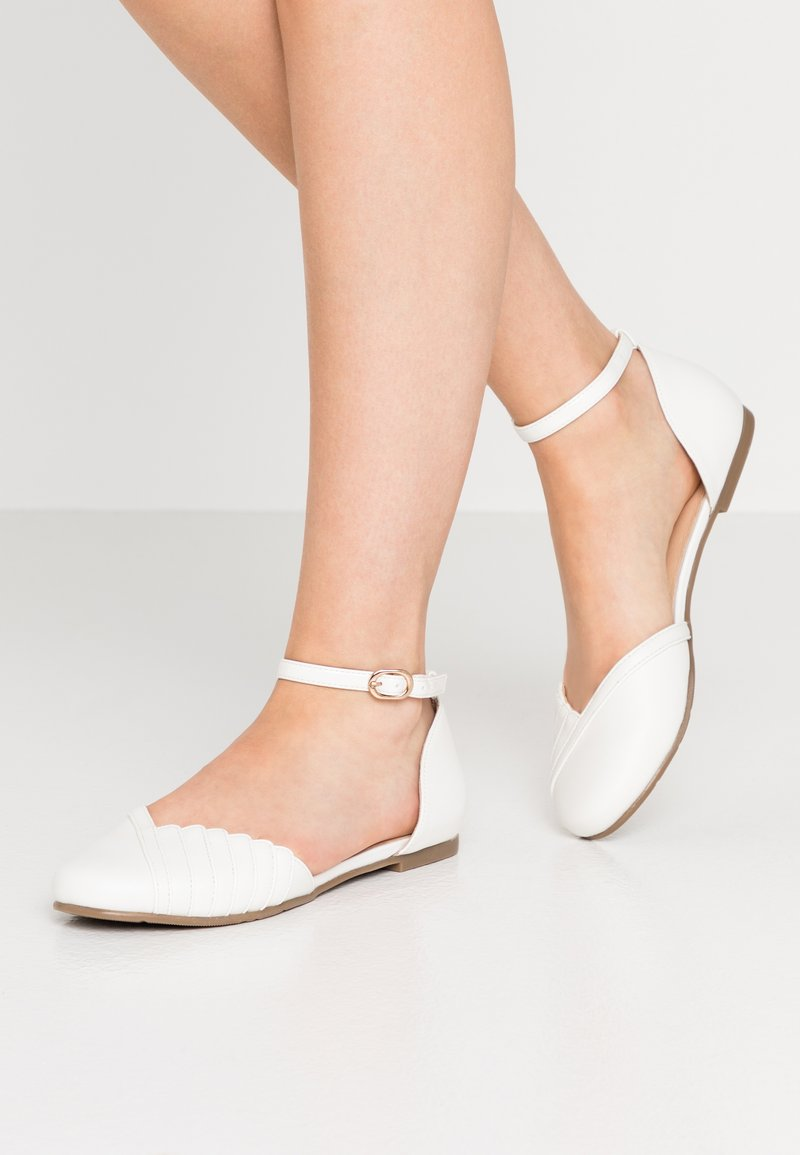 Anna Field - LEATHER ANKLE STRAP BALLET PUMPS - Ankle strap ballet pumps - white