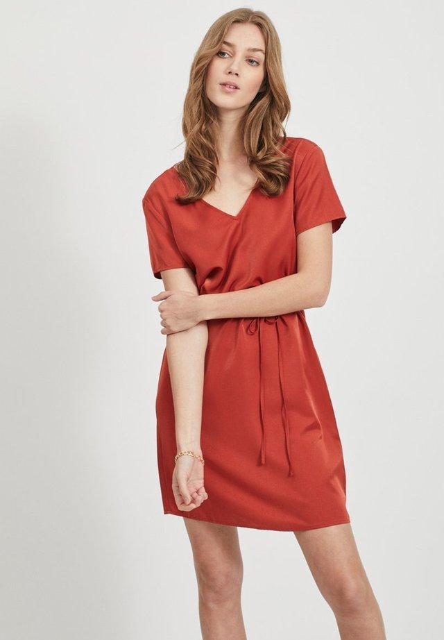 OBJEILEEN LACE V-NECK DRESS - Korte jurk - tandori spice