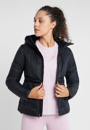 HOODED - Down jacket - black/jet gray