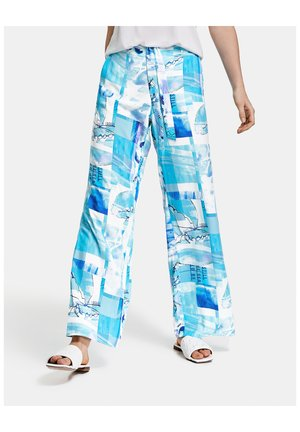 Trousers - blue curacao gemustert