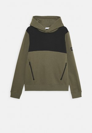 COLOUR BLOCK HOODIE - Mikina - green