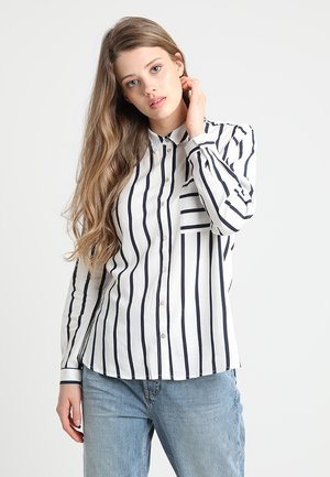 ONLSUGAR  - Button-down blouse - cloud dancer/night sky stripes