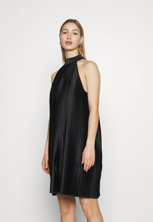 PLEATED HALTER NECK MINI DRESS - Cocktail dress / Party dress - black