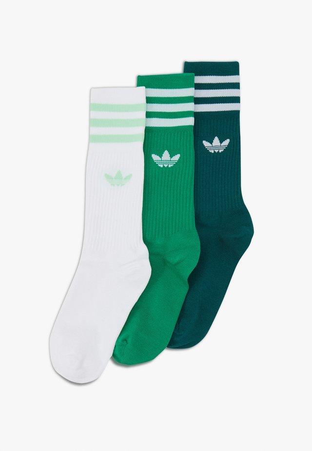 SOLID CREW UNISEX 3 PACK - Socks - white/green
