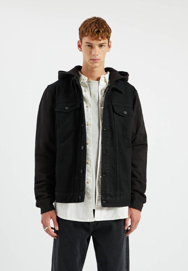 PULL&BEAR - Džínová bunda - metallic black